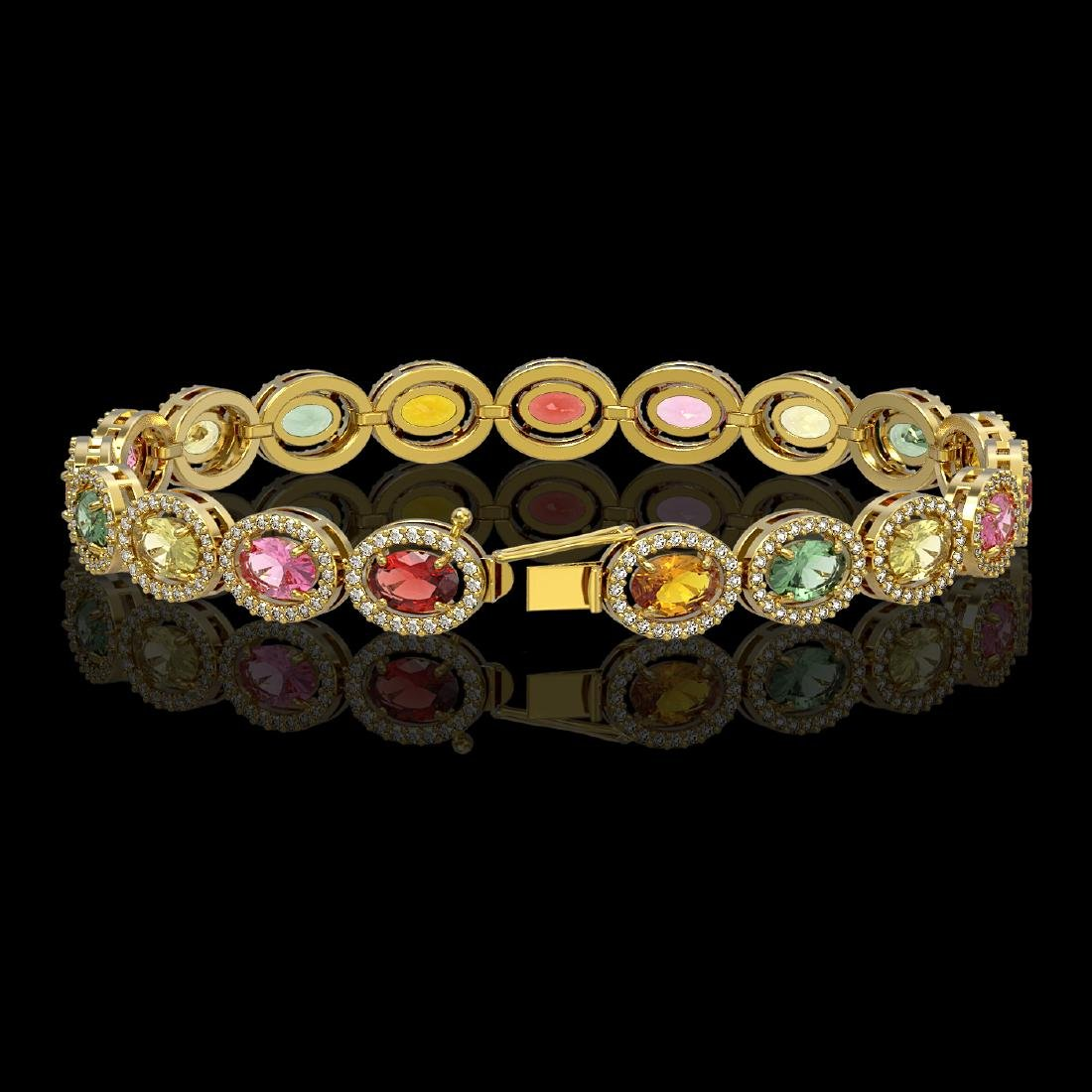 14.25 CTW Multi Color Sapphire & Diamond Halo Bracelet - 2