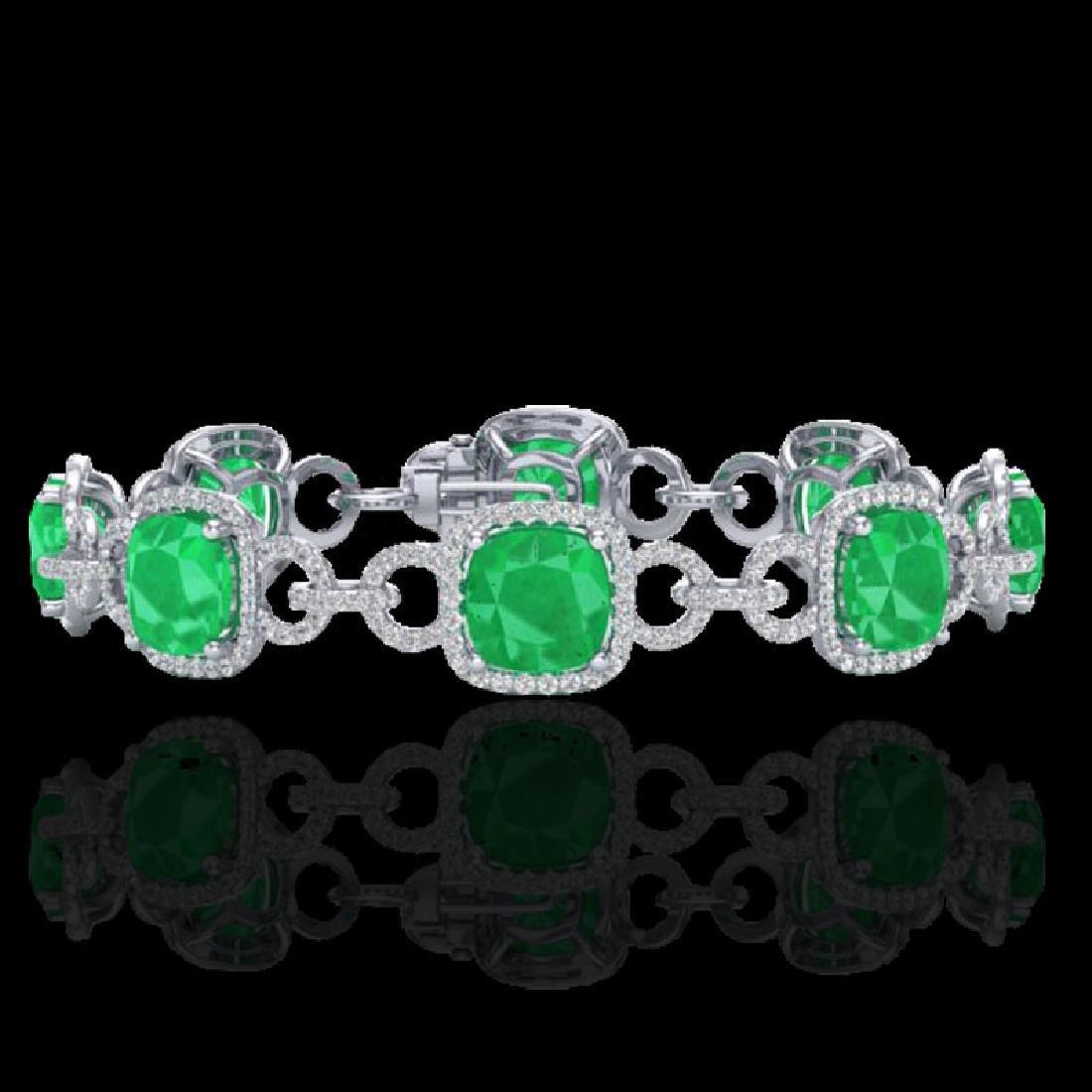25 CTW Emerald & Micro VS/SI Diamond Bracelet 14K White