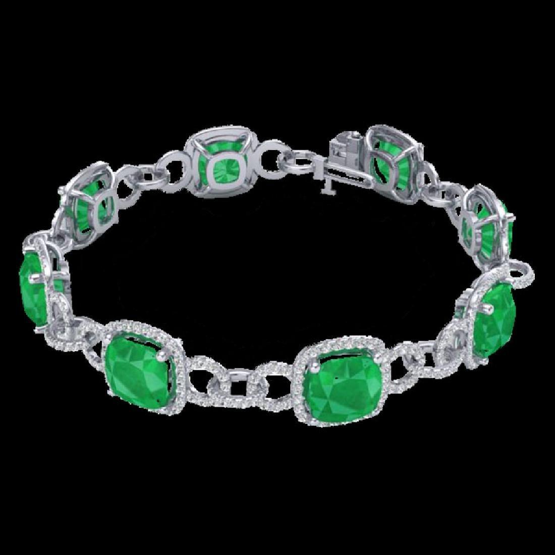 25 CTW Emerald & Micro VS/SI Diamond Bracelet 14K White - 2