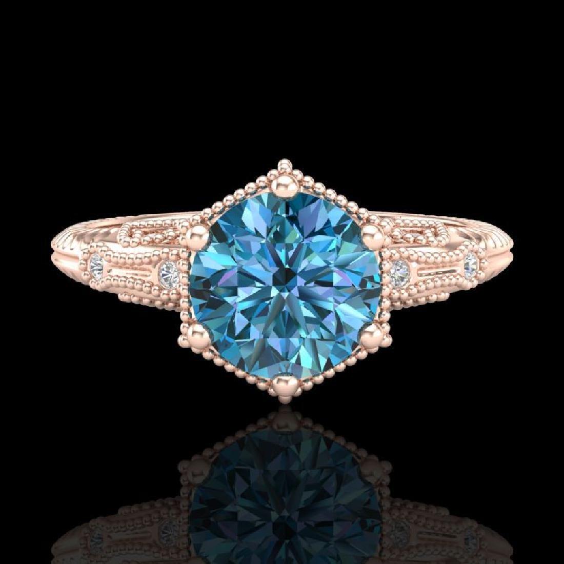 1.17 CTW Fancy Intense Blue Diamond Solitaire Art Deco - 2