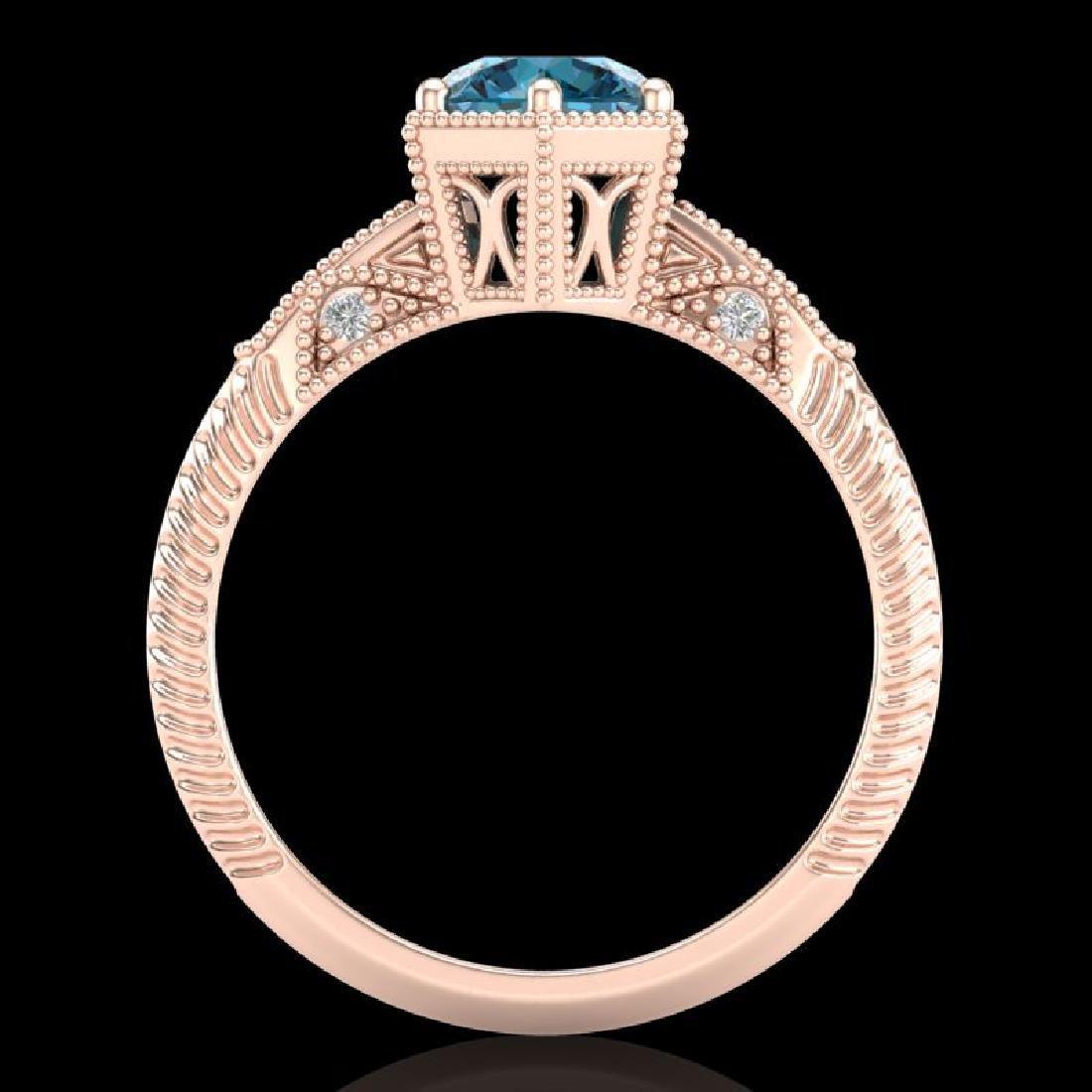 1.17 CTW Fancy Intense Blue Diamond Solitaire Art Deco - 3