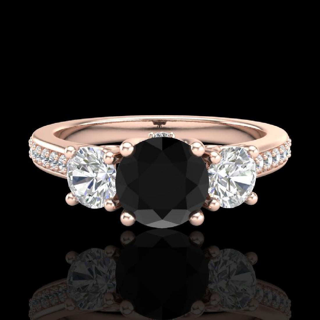 1.67 CTW Fancy Black Diamond Solitaire Art Deco 3 Stone - 2