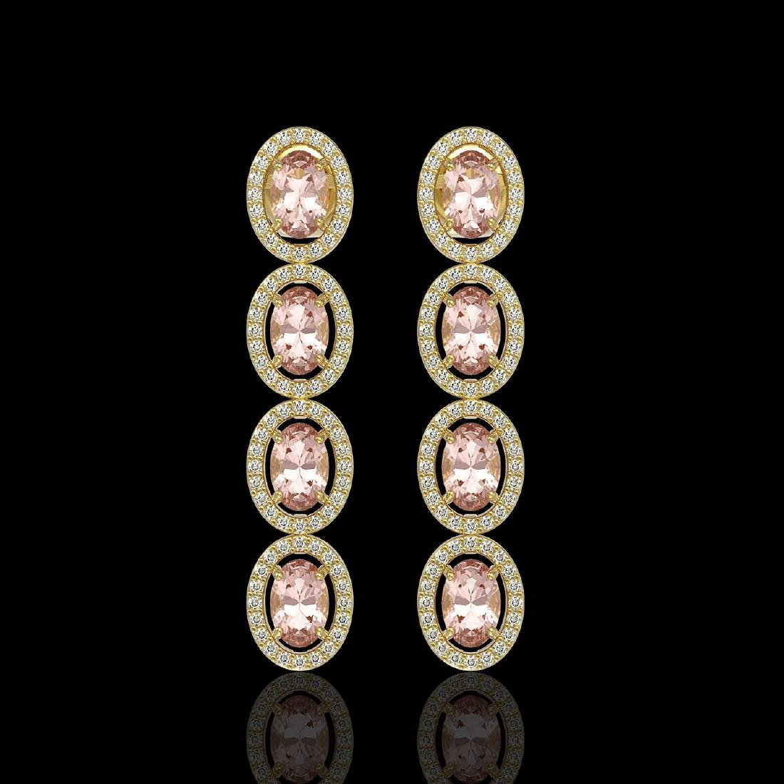 6.09 CTW Morganite & Diamond Halo Earrings 10K Yellow