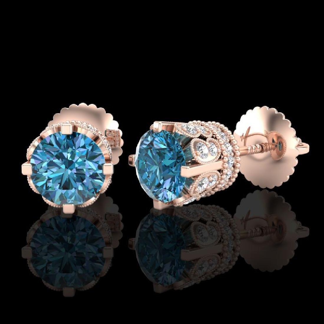 3 CTW Fancy Intense Blue Diamond Solitaire Art Deco - 2