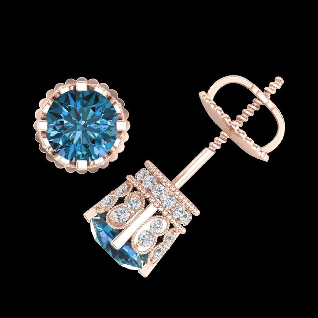 3 CTW Fancy Intense Blue Diamond Solitaire Art Deco - 3