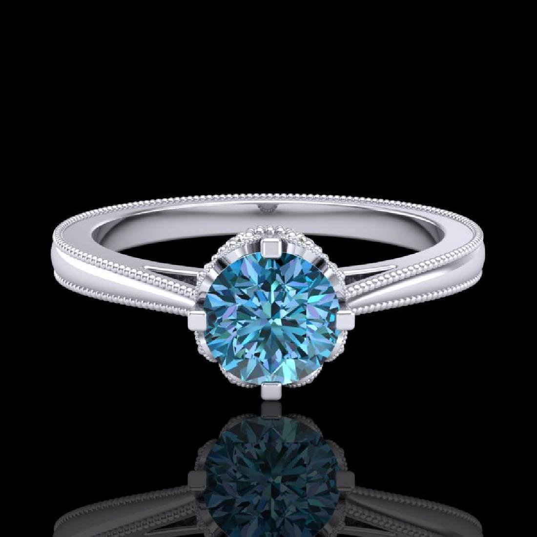0.81 CTW Fancy Intense Blue Diamond Solitaire Art Deco - 2