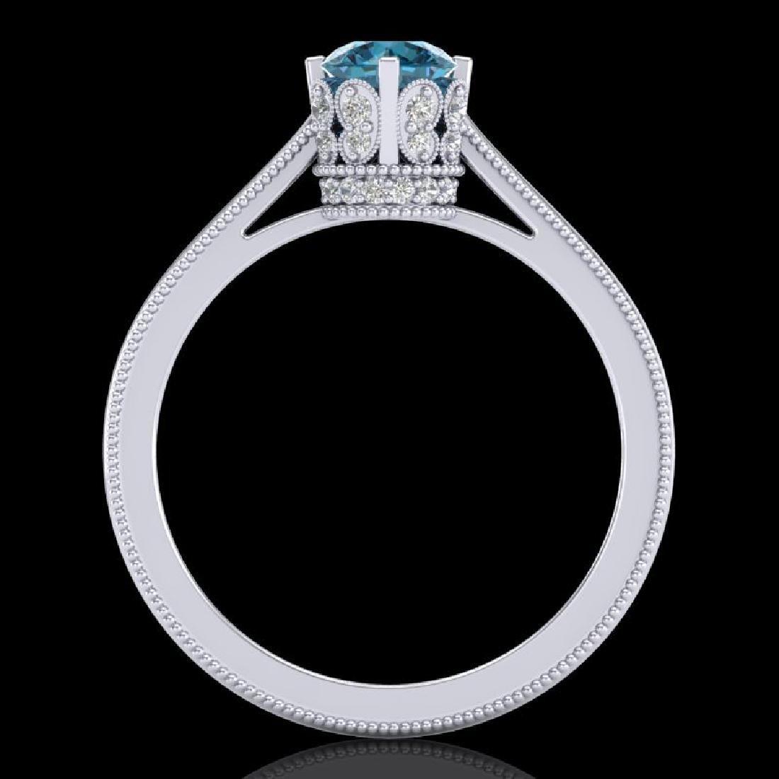0.81 CTW Fancy Intense Blue Diamond Solitaire Art Deco - 3