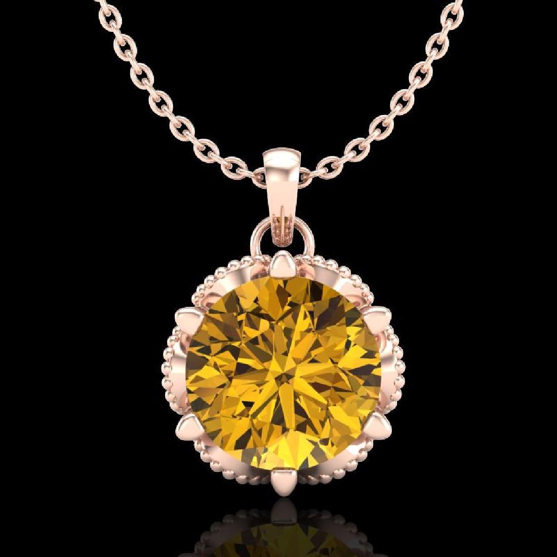 1.36 CTW Intense Fancy Yellow Diamond Art Deco Stud