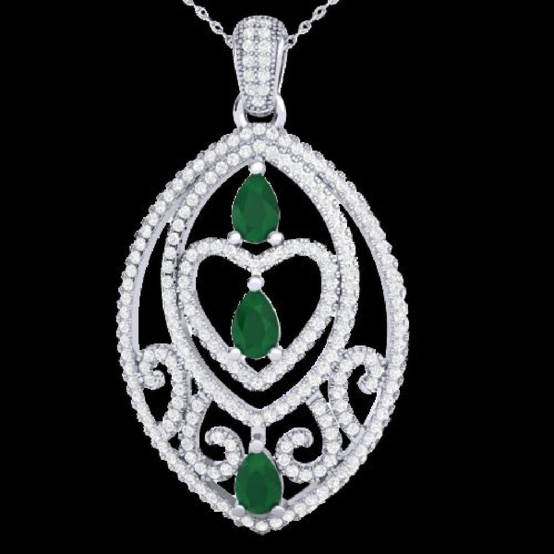 3.50 CTW Emerald & Micro Pave VS/SI Diamond Heart