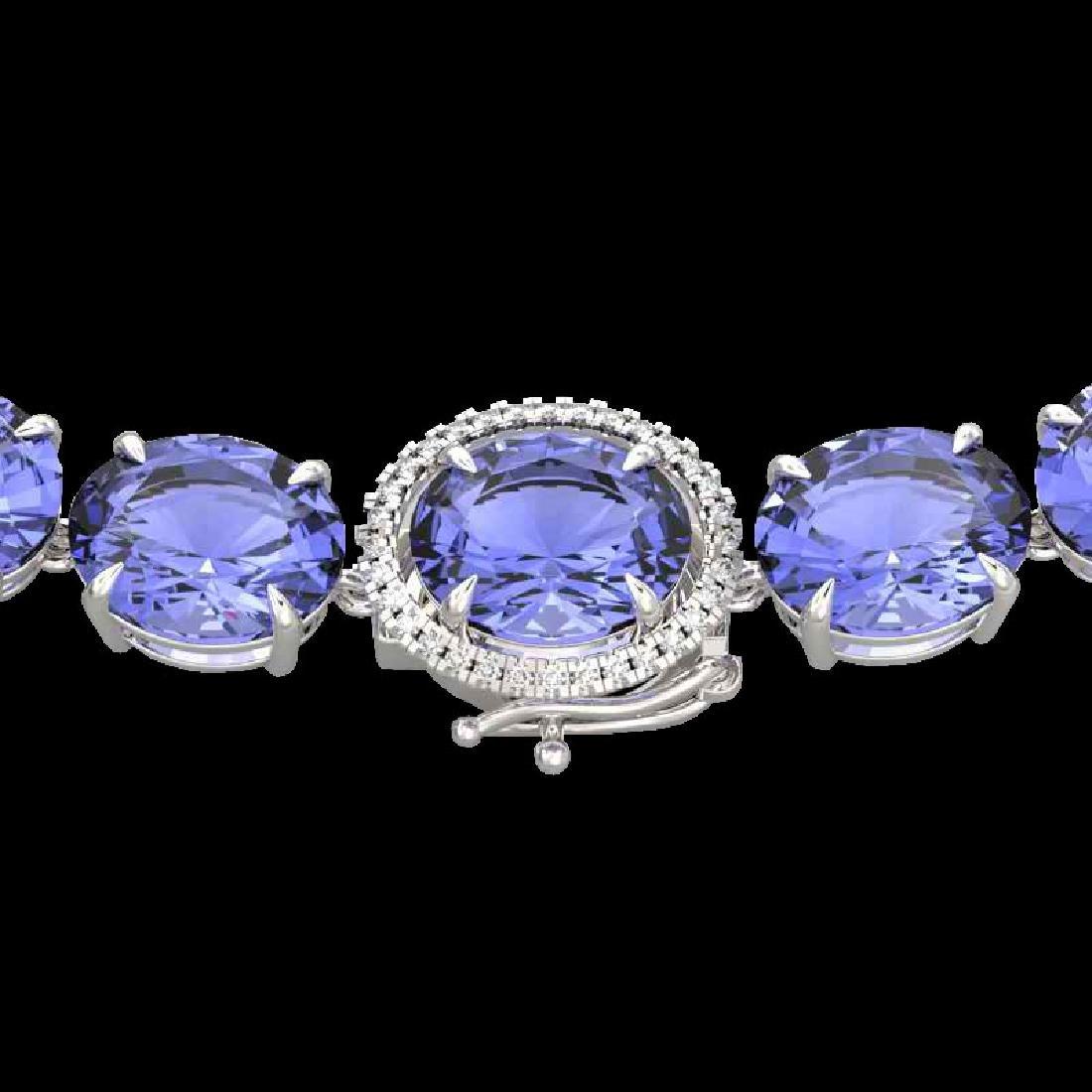170 CTW Tanzanite & VS/SI Diamond Halo Micro Eternity