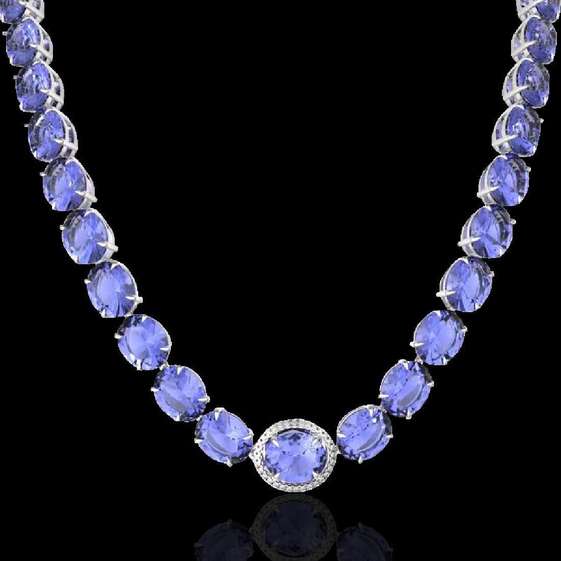 170 CTW Tanzanite & VS/SI Diamond Halo Micro Eternity - 2