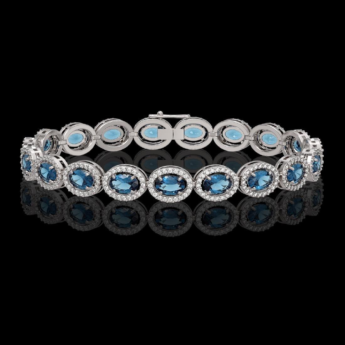 14.82 CTW London Topaz & Diamond Halo Bracelet 10K