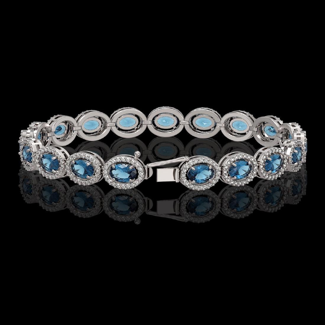 14.82 CTW London Topaz & Diamond Halo Bracelet 10K - 2