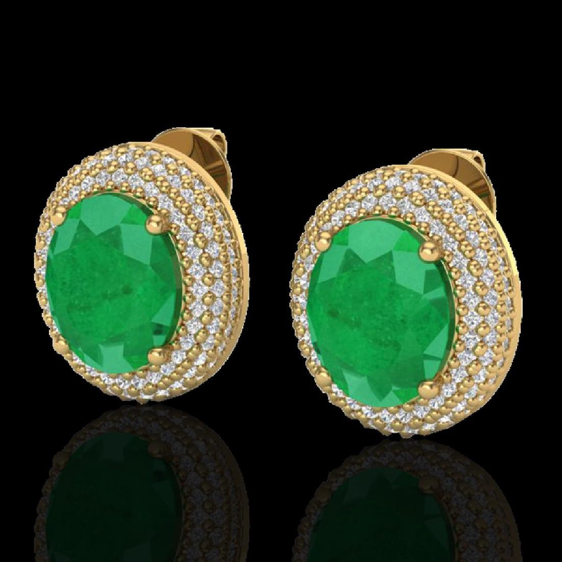 9.20 CTW Emerald & Micro Pave VS/SI Diamond Earrings