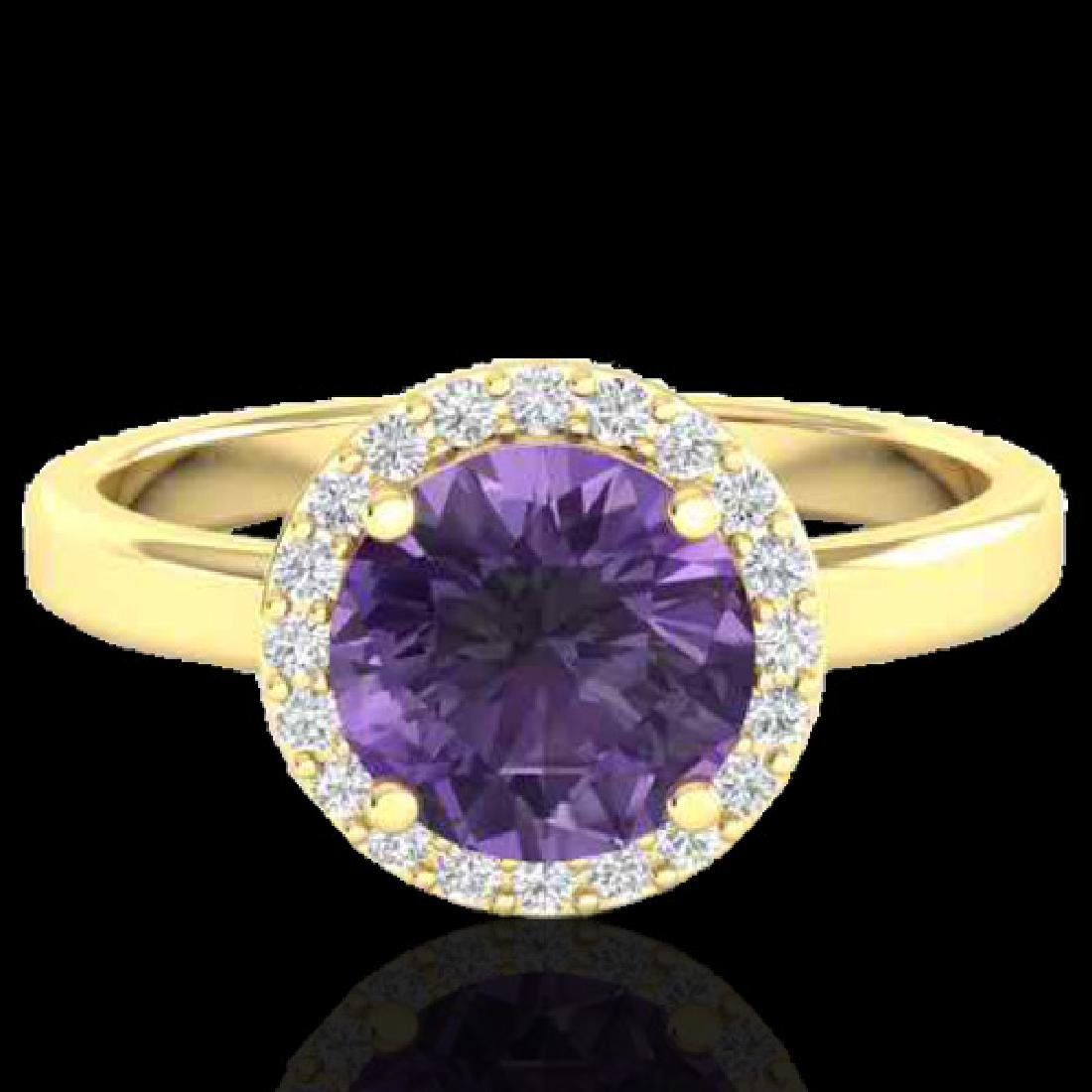 2 CTW Amethyst & Halo VS/SI Diamond Micro Pave Ring