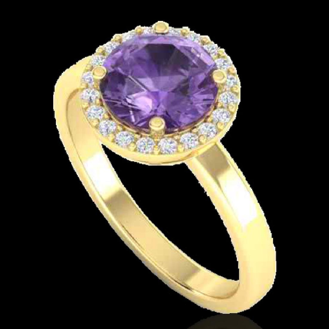 2 CTW Amethyst & Halo VS/SI Diamond Micro Pave Ring - 2
