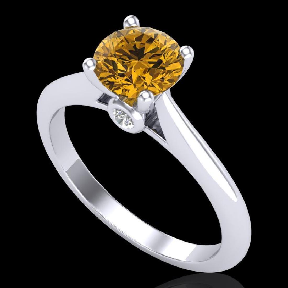 1.08 CTW Intense Fancy Yellow Diamond Engagement Art