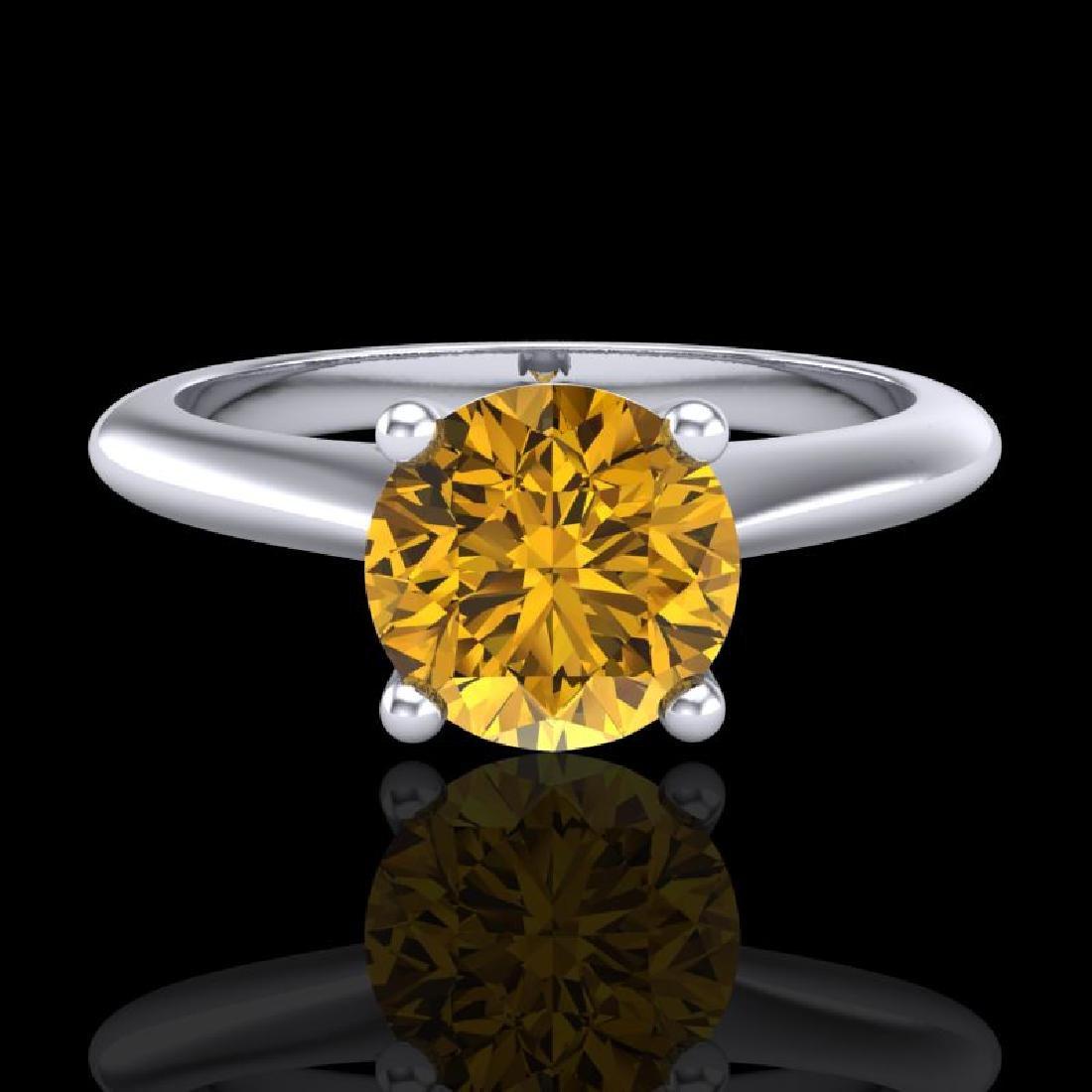 1.08 CTW Intense Fancy Yellow Diamond Engagement Art - 2