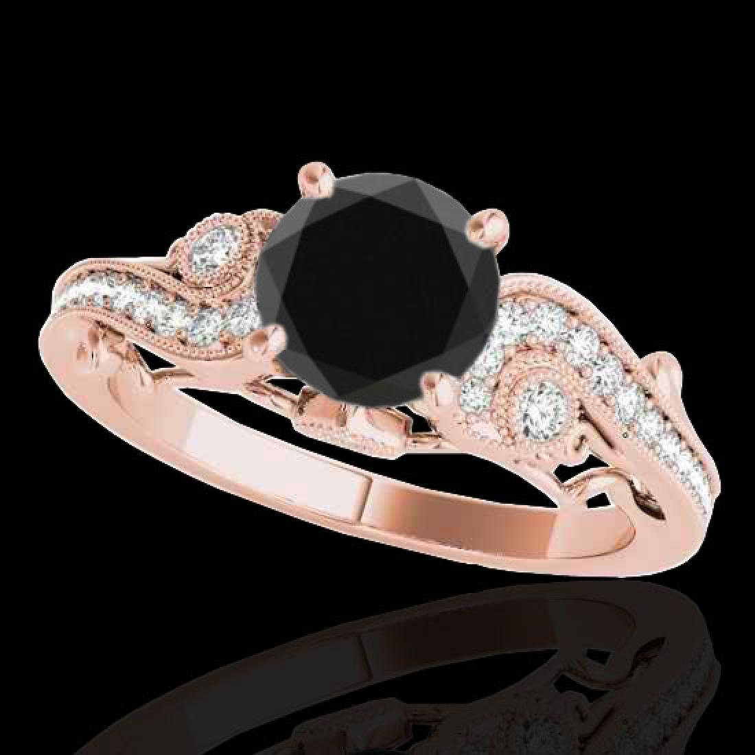 1.25 CTW Certified VS Black Diamond Solitaire Antique