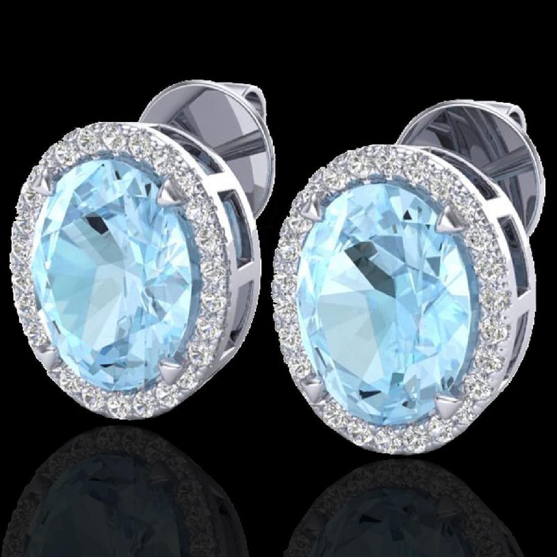 5.50 CTW Aquamarine & Micro VS/SI Diamond Halo Earrings