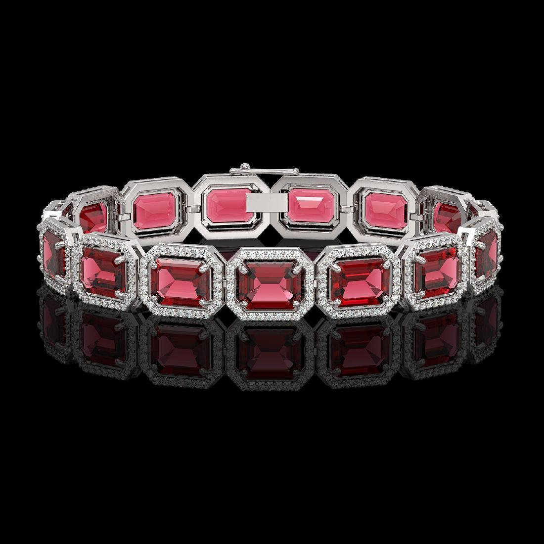 36.51 CTW Tourmaline & Diamond Halo Bracelet 10K White