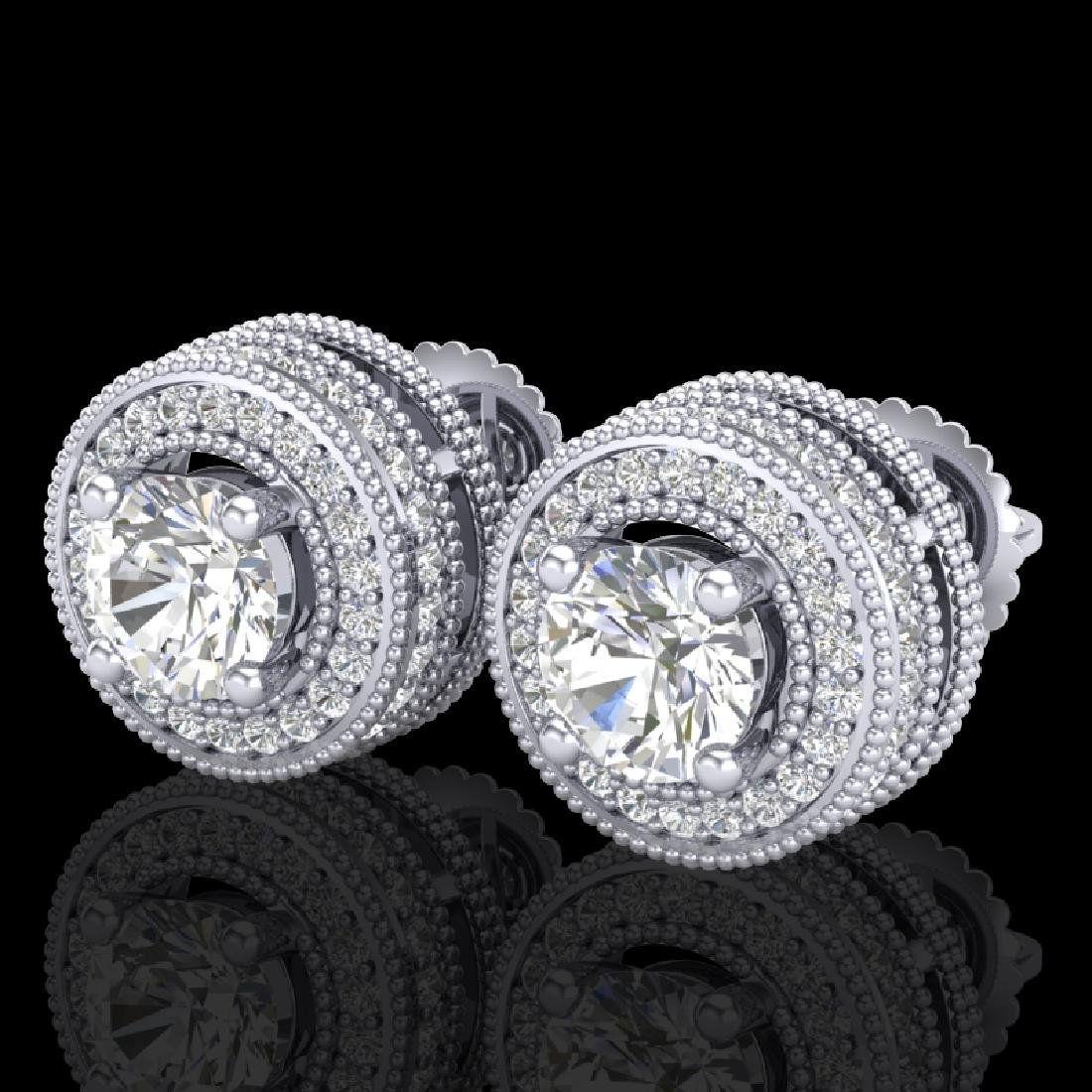 2.09 CTW VS/SI Diamond Solitaire Art Deco Stud Earrings
