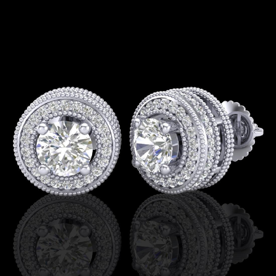 2.09 CTW VS/SI Diamond Solitaire Art Deco Stud Earrings - 2