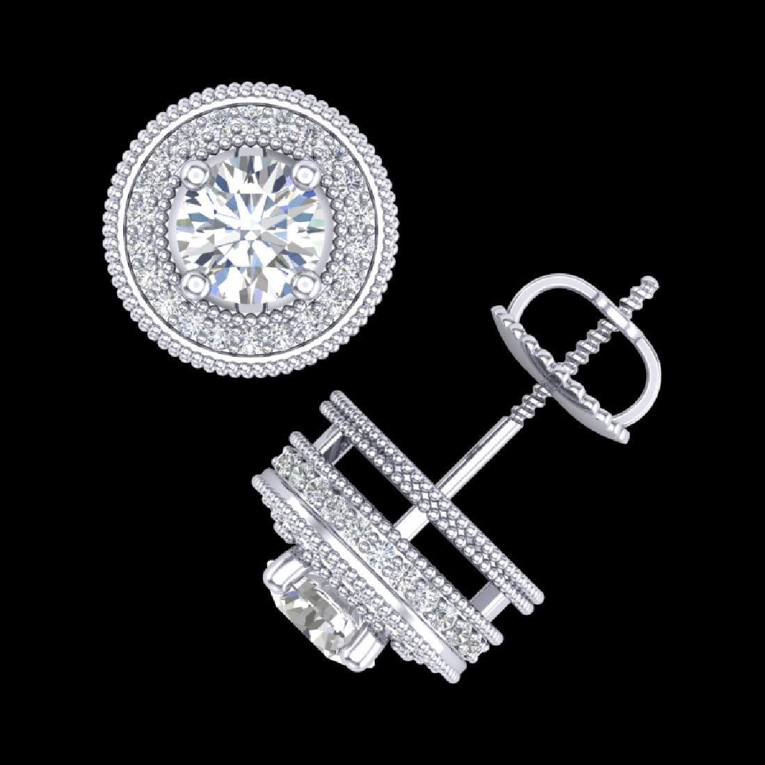 2.09 CTW VS/SI Diamond Solitaire Art Deco Stud Earrings - 3