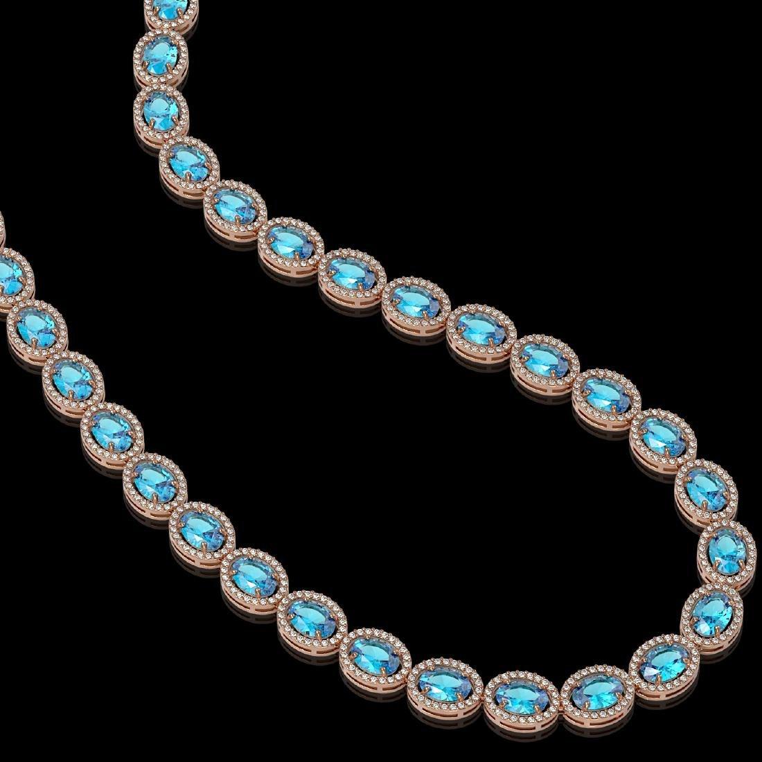 55.41 CTW Swiss Topaz & Diamond Halo Necklace 10K Rose - 2