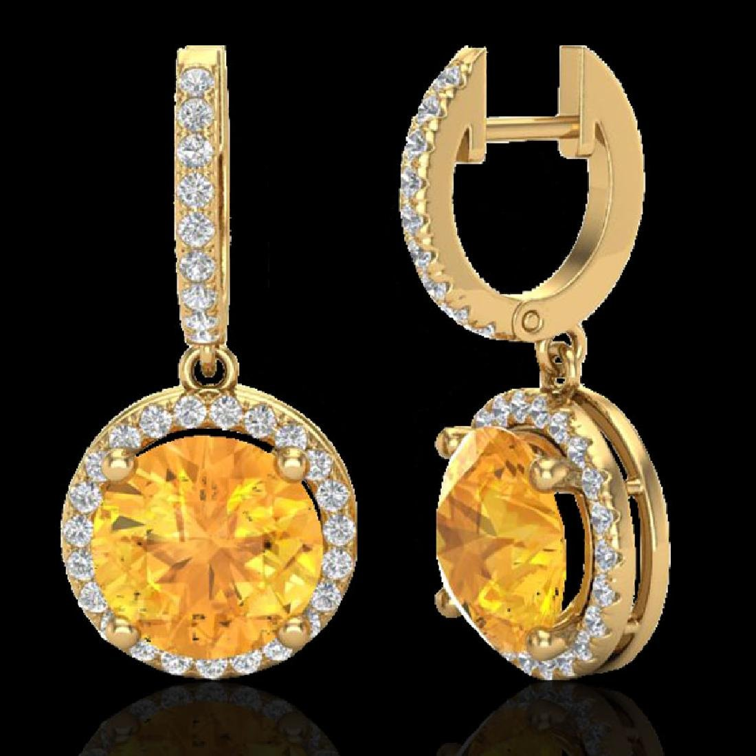 4 CTW Citrine & Micro Pave VS/SI Diamond Designer Halo - 2