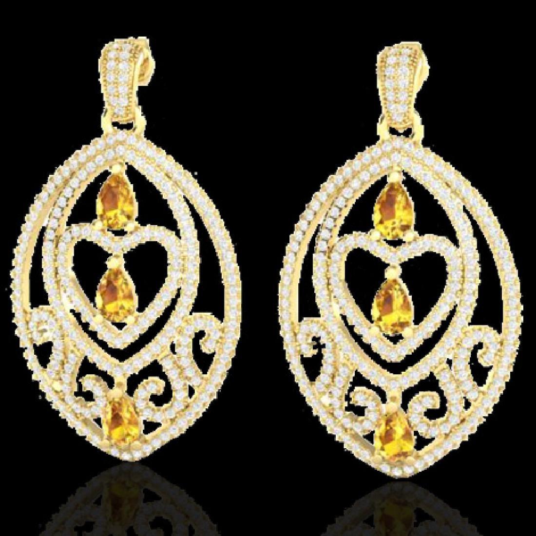 7 CTW Yellow Sapphire & Micro Pave VS/SI Diamond Heart