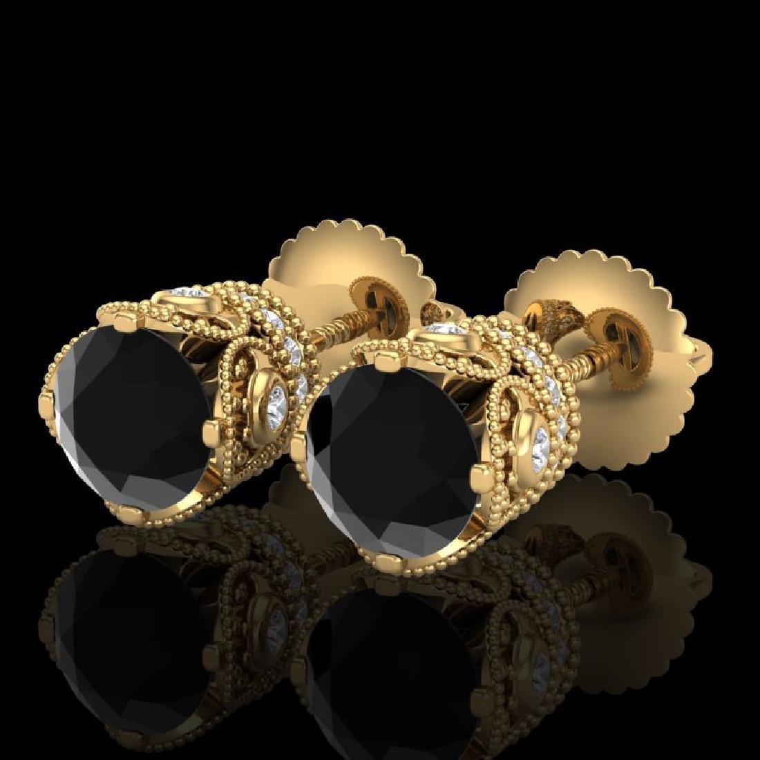 1.85 CTW Fancy Black Diamond Solitaire Art Deco Stud