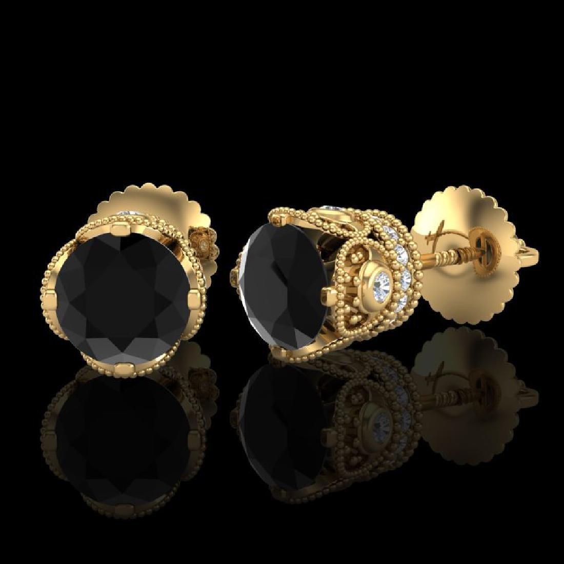 1.85 CTW Fancy Black Diamond Solitaire Art Deco Stud - 2
