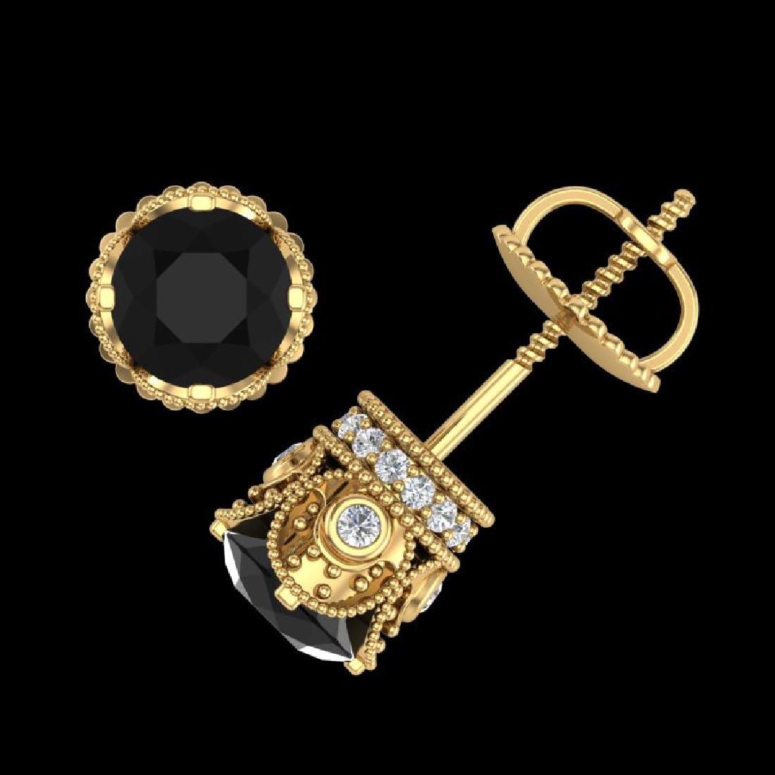 1.85 CTW Fancy Black Diamond Solitaire Art Deco Stud - 3