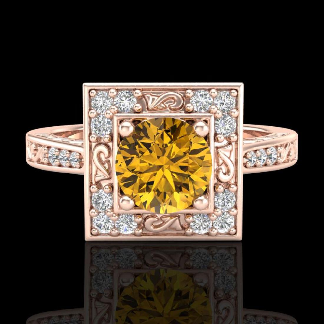 1.1 CTW Intense Fancy Yellow Diamond Engagement Art - 2
