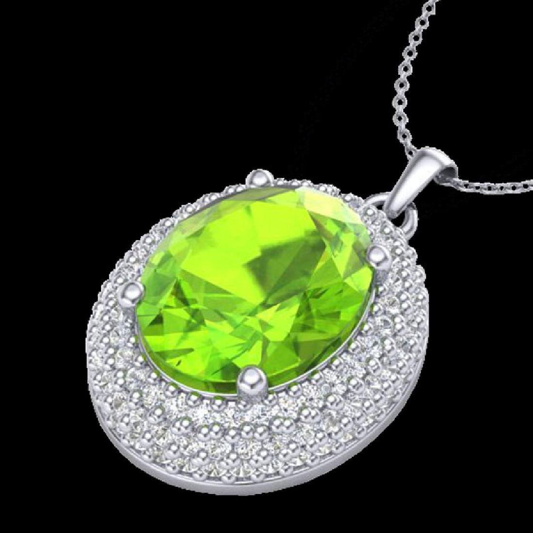 4.50 CTW Peridot & Micro Pave VS/SI Diamond Necklace - 2
