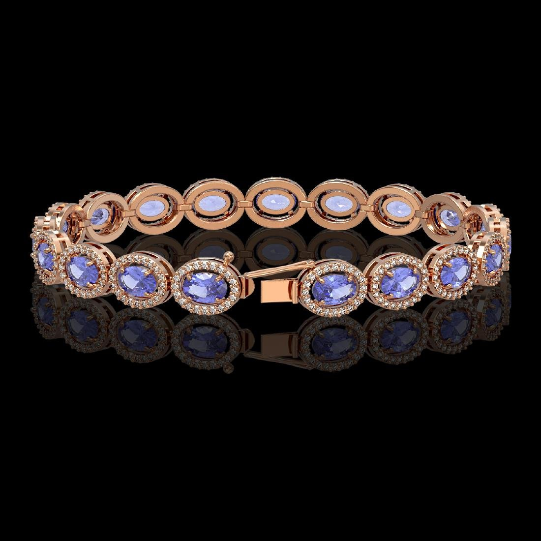14.25 CTW Tanzanite & Diamond Halo Bracelet 10K Rose - 2