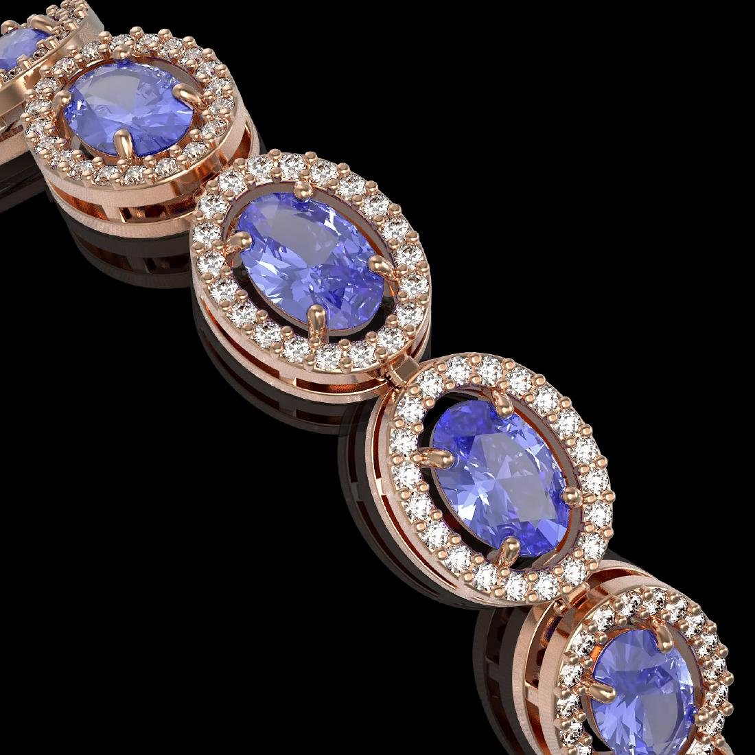 14.25 CTW Tanzanite & Diamond Halo Bracelet 10K Rose - 3