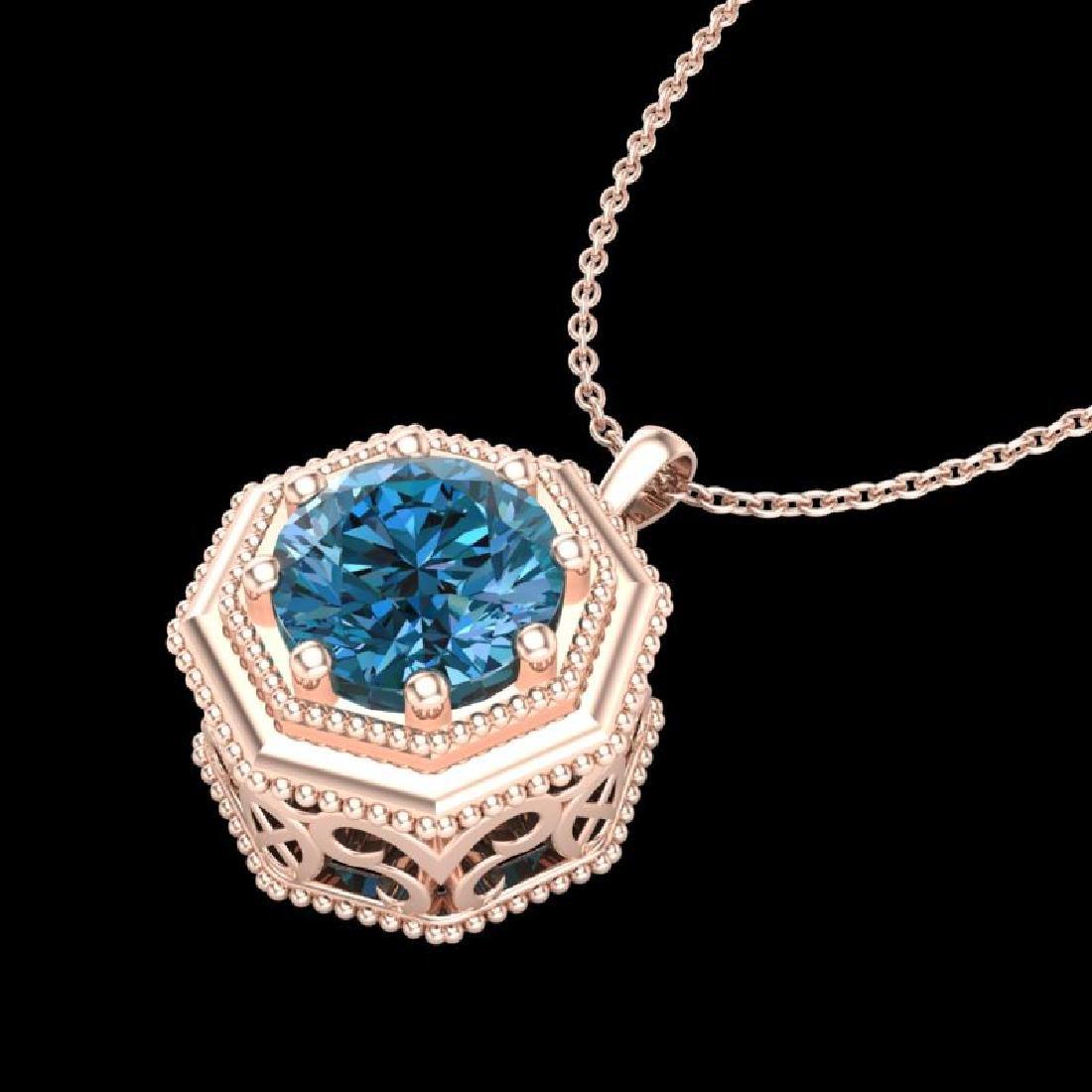0.75 CTW Fancy Intense Blue Diamond Solitaire Art Deco - 2