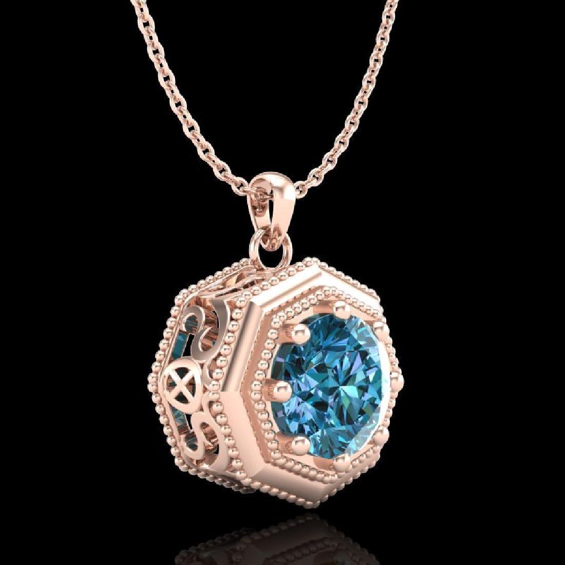 0.75 CTW Fancy Intense Blue Diamond Solitaire Art Deco - 3