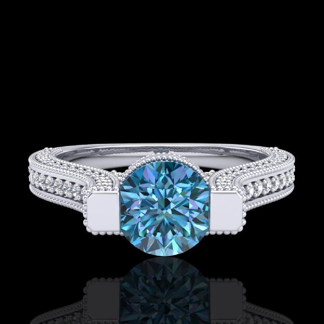 2 CTW Fancy Intense Blue Diamond Engagement Micro Pave - 2