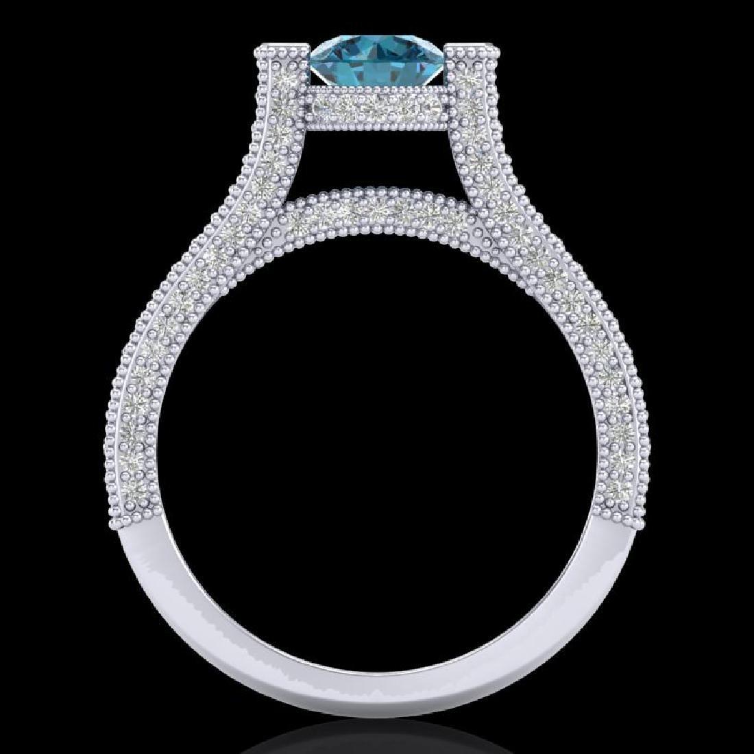 2 CTW Fancy Intense Blue Diamond Engagement Micro Pave - 3