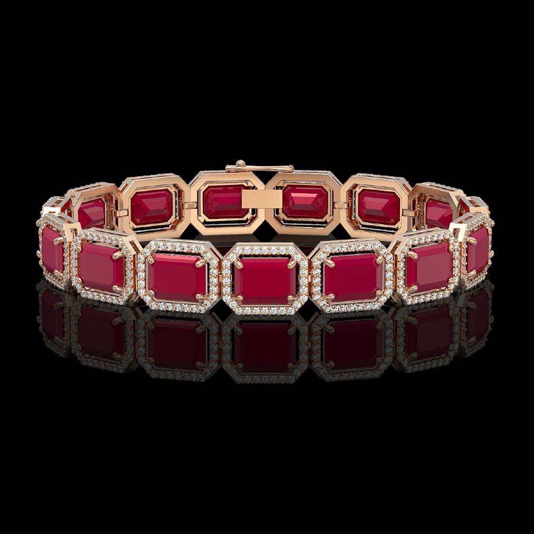 38.61 CTW Ruby & Diamond Halo Bracelet 10K Rose Gold