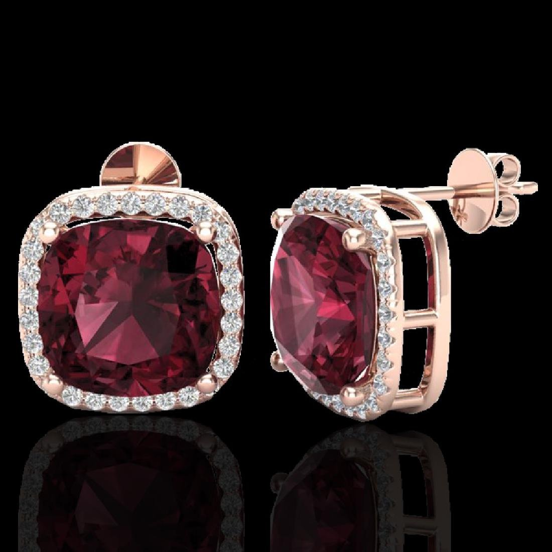 12 CTW Garnet & Micro Pave Halo VS/SI Diamond Earrings - 2