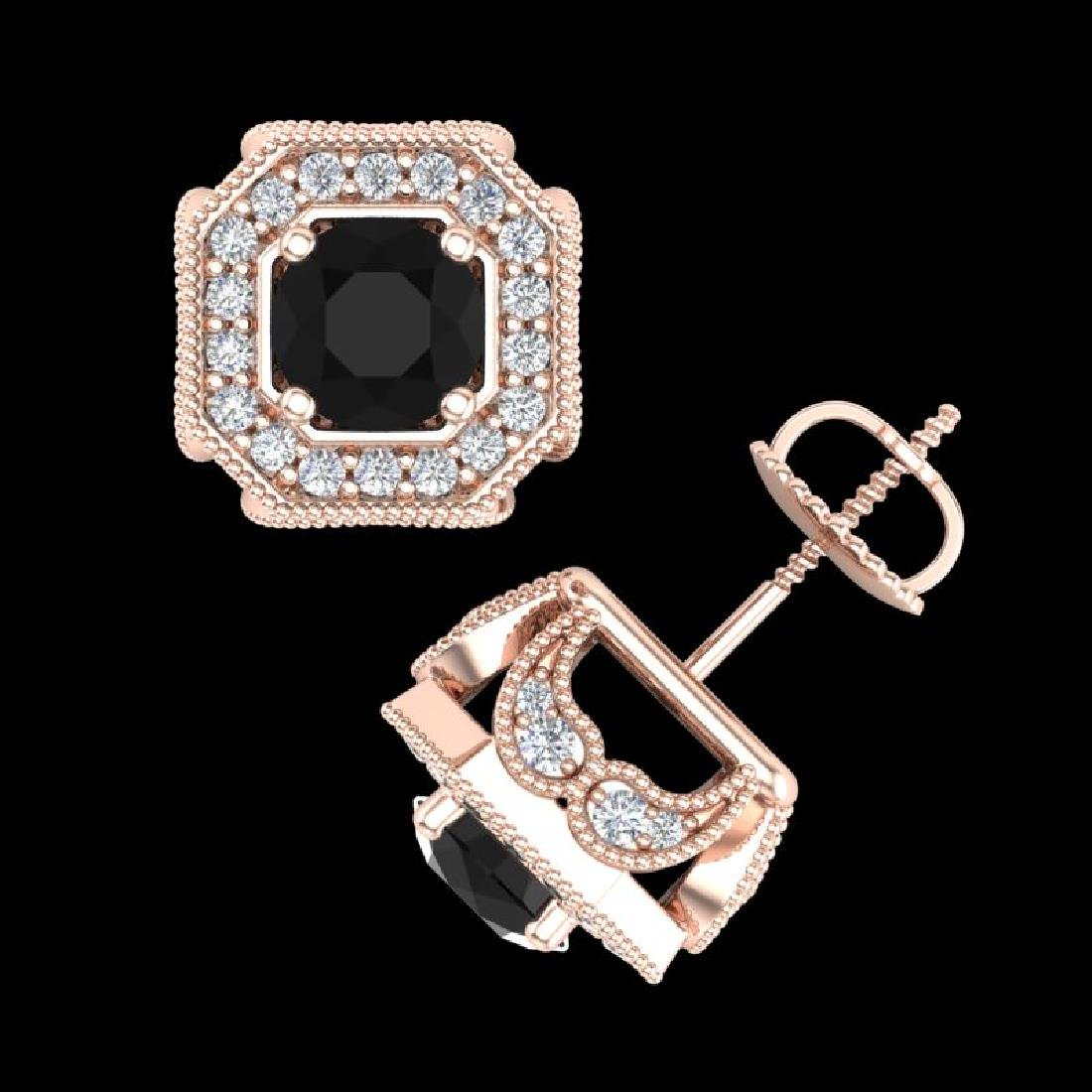 2.75 CTW Fancy Black Diamond Solitaire Art Deco Stud - 3