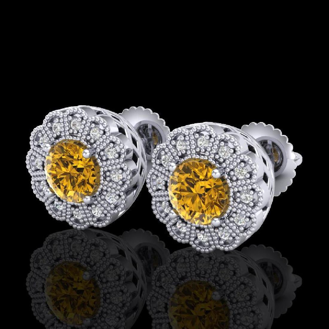 1.32 CTW Intense Fancy Yellow Diamond Art Deco Stud