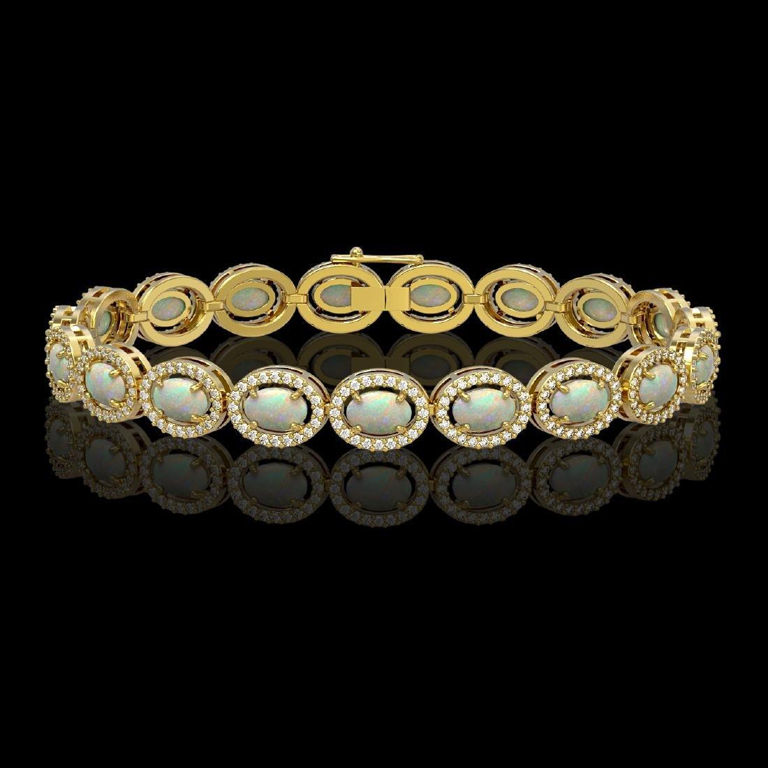 9.5 CTW Opal & Diamond Halo Bracelet 10K Yellow Gold