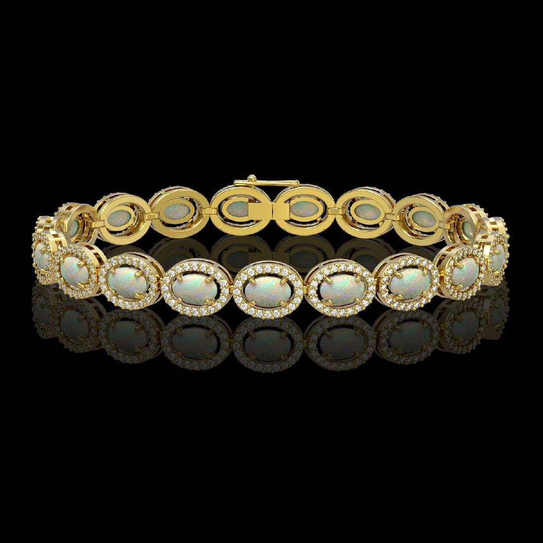 9.5 CTW Opal & Diamond Halo Bracelet 10K Yellow Gold