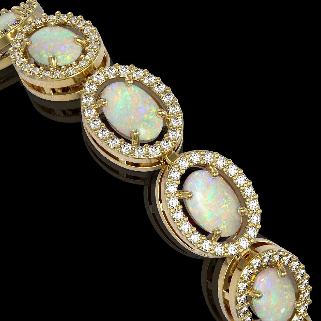 9.5 CTW Opal & Diamond Halo Bracelet 10K Yellow Gold - 2