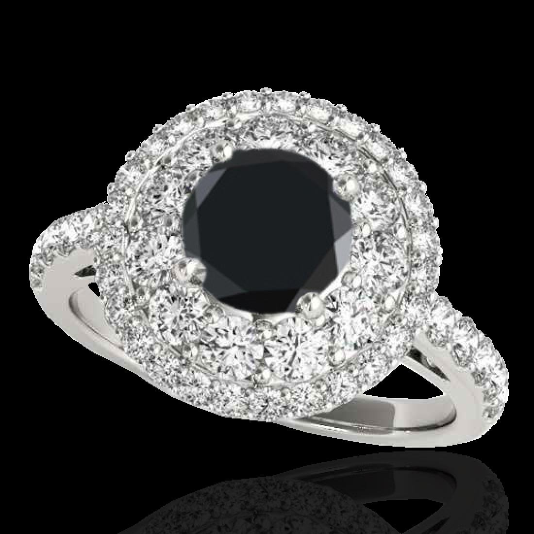 2.09 CTW Certified VS Black Diamond Solitaire Halo Ring
